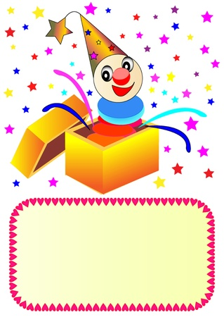 illustration merry clown with paper in box Vector
