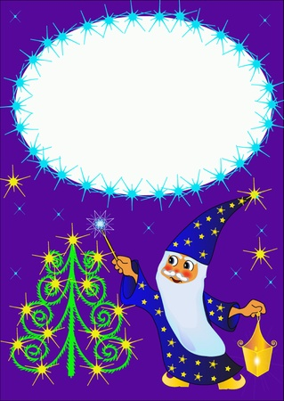 illustration frame magician fir tree and star Stock Vector - 10621986