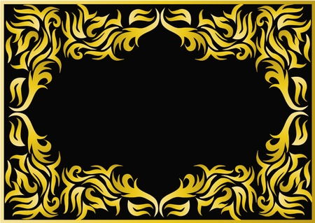 illustration frame with bright pattern on black background Stock Vector - 10621982