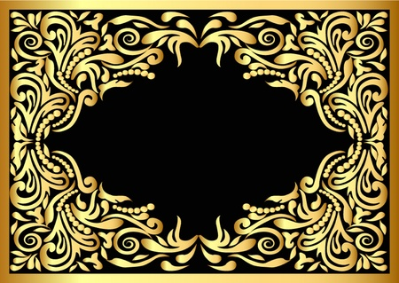 illustration frame with gold pattern on black background Stock Vector - 10621990