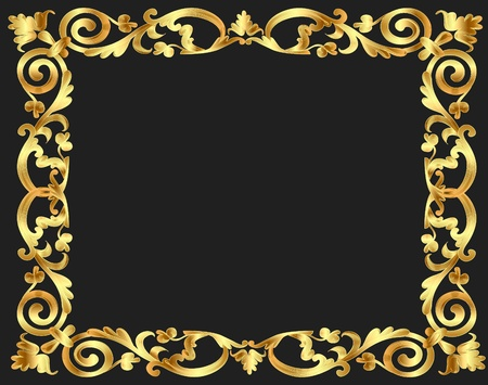 rococo: illustration frame background with gold vegetable pattern Illustration