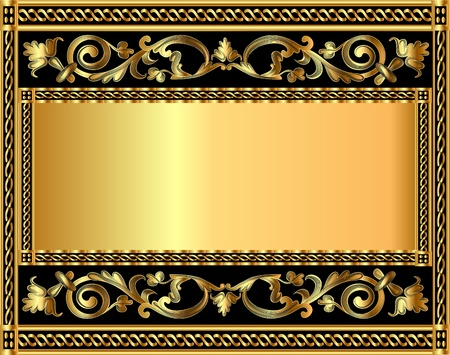 gold frame: illustration frame background with gold vegetable pattern Illustration