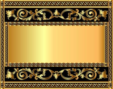illustration frame background with gold vegetable pattern Vector