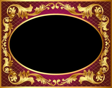 gold floral: illustration frame background with gold vegetable pattern Illustration