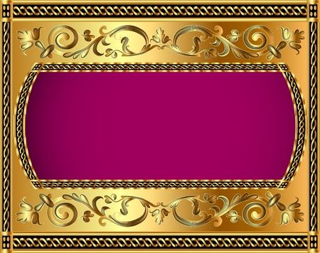 luxurious: illustration frame background with gold vegetable pattern Illustration