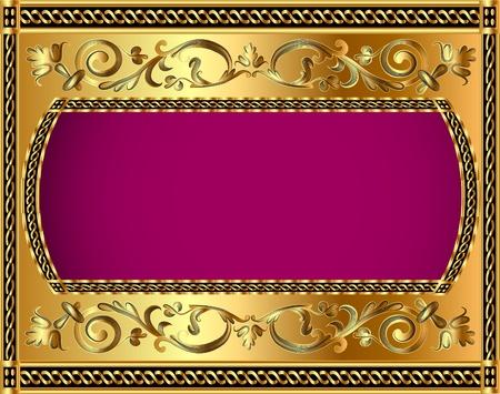 luxurious background: illustration frame background with gold vegetable pattern Illustration