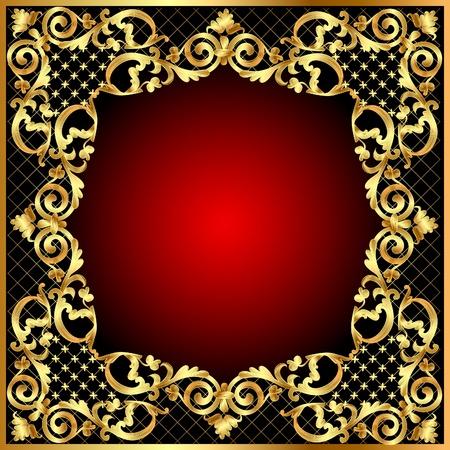 Illustration de fond frame avec motif v�g�tal d'or Illustration