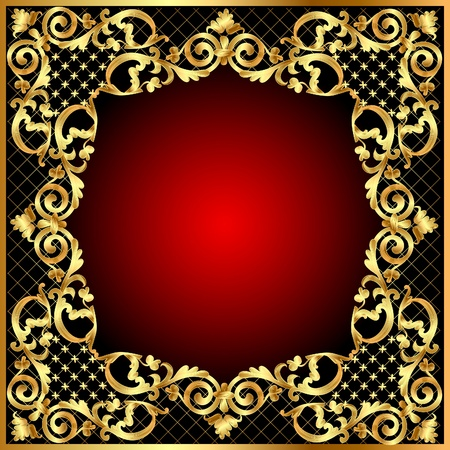 illustration frame background with gold vegetable pattern Vector