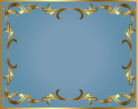 illustration frame with gold pattern on turn blue Illustration