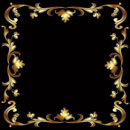 illustration frame with gold pattern on black Vector