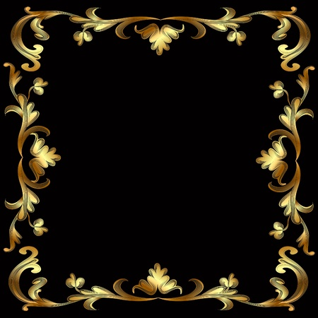 medieval banner: illustration frame with gold pattern on black