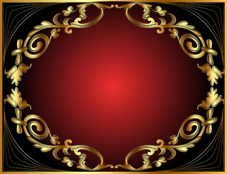 illustration frame with gold pattern on black and red Vector