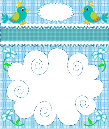 illustration nursery card of the announcement with bird Vector