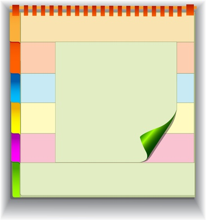 curled corner: illustration background with note pad and label for messages