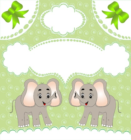 illustration nursery card of the announcement with elephant Vector