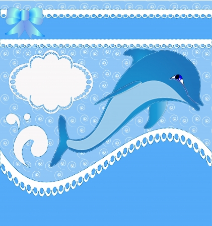 diving board: illustration nursery card of the announcement with dolphins Illustration
