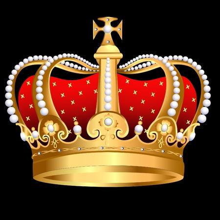 corona rey: corona de oro zarista de ilustración con Perla y patrón Vectores
