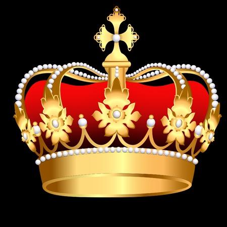 corona real: corona de oro zarista de ilustración con Perla y hoja Vectores
