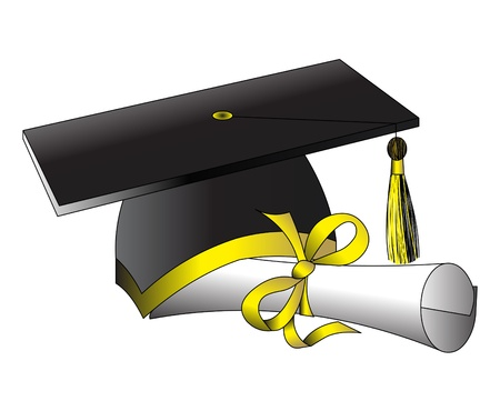 illustration formation hat diploma on white Vector