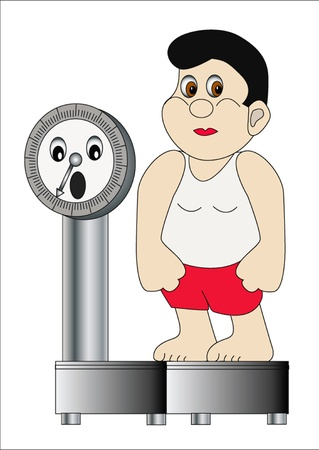 scare:  illustration thick man on weight which scare