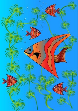 deep sea fishing: illustration bright fishes in lake amongst