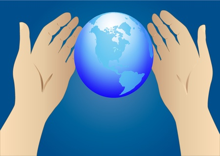 hands holding globe:  illustration of the hand stretched to globe Illustration