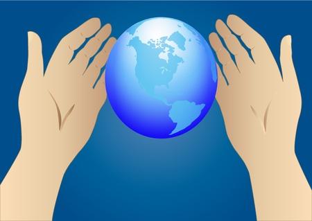 mundo manos: ilustración de la mano tendida a globo Vectores