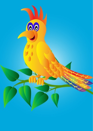 illustration merry parrot on branch with sheet Vector