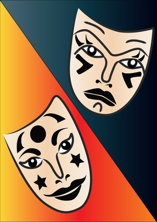 comedy tragedy: illustration theatrical masks reflecting and sadness and joy