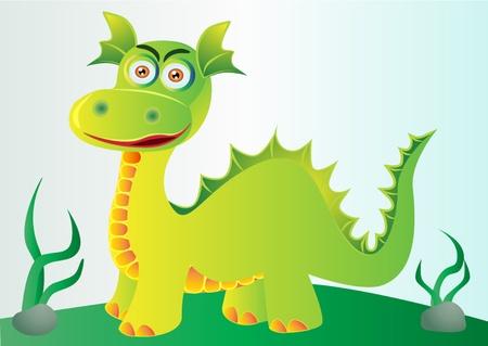 hillock:  Ilustraci�n bonita green dragon en Loma con hierba