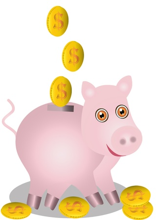illustration  in pig piggy bank fall dollarsis insulated on white  Vector