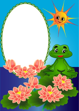 illustration frame lily and frog on turn blue background