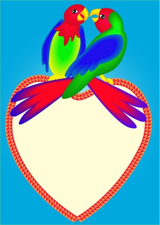 two parrots: illustrations two bright parrots on heart are kissed