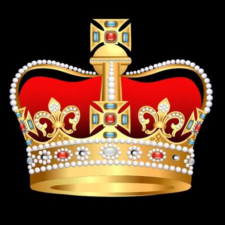 corona real: corona de oro zarista de ilustración con Perla y Cruz Vectores