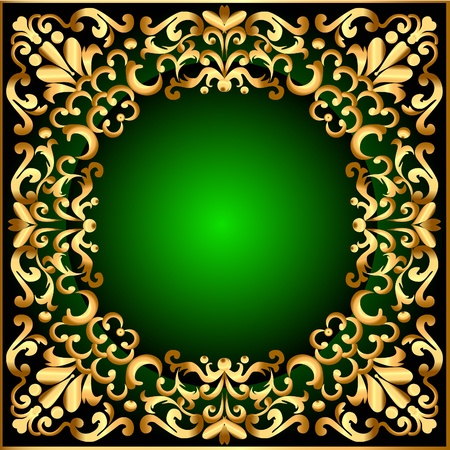 illustration frame with gold pattern and black green background Vector