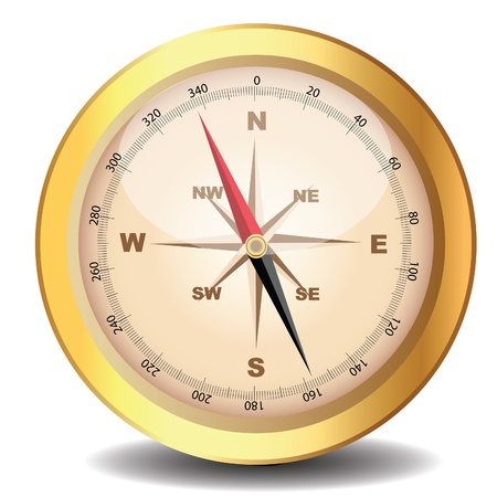 navigate: illustration old classical compass gold on white