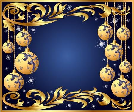 illustration gold background frame festive ball winter Vector