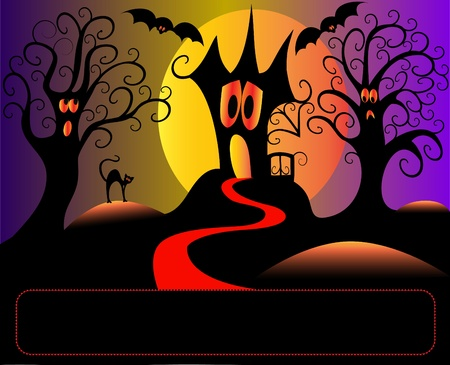 illustration afraid house tree and cat in halloween Vector