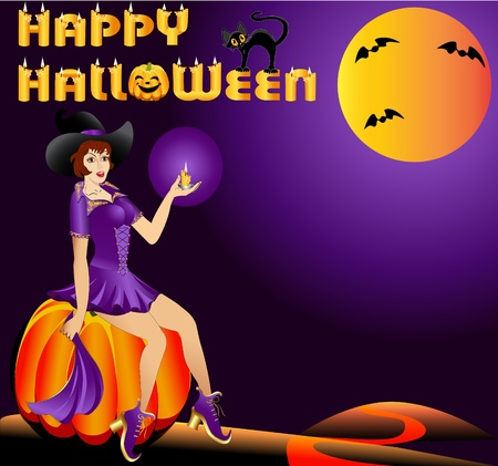 illustration background girl on pumpkins with candle in halloween Vector