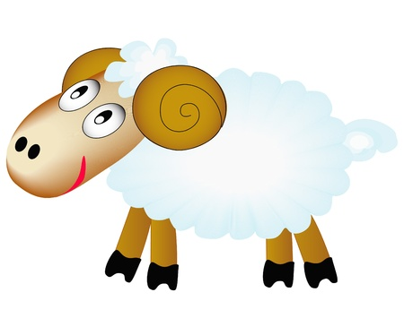 baa: illustration merry sheep insulated on white background