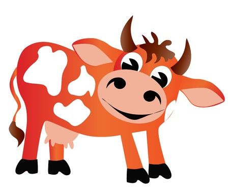 illustration merry cow insulated on white background Stock Vector - 10795861