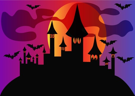 illustration holiday halloween house and bats on background of the moon Stock Vector - 10795847