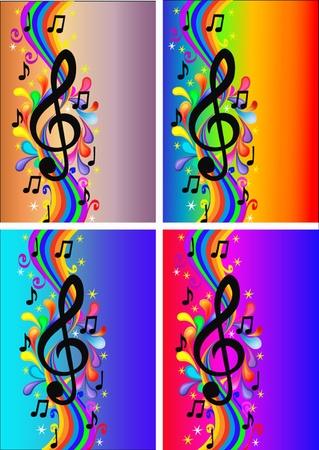 semiquaver: illustrazione sfondo impostato con nota e arcobaleno