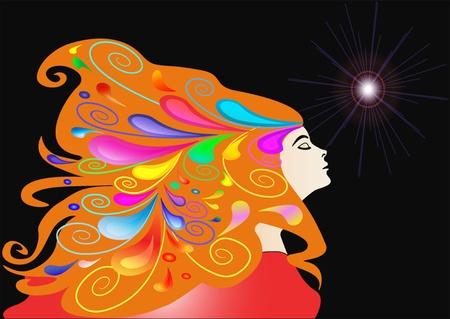 visage peint: fille illustration avec des cheveux de d�veloppement et le mod�le