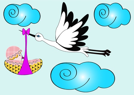 illustration stork carries newborn child in sky Vector