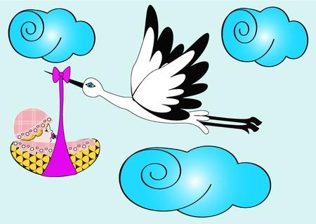 carries: illustration stork carries newborn child in sky Illustration