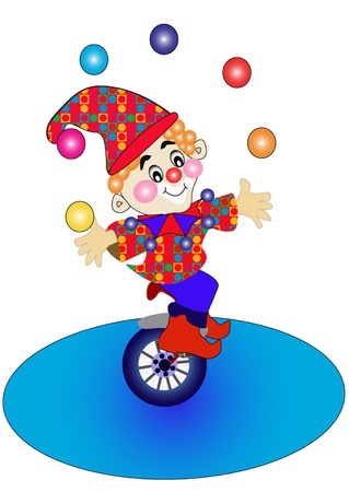 stage performer: the illustration clown on bicycle throws the balls.