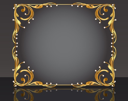 gold floral: illustration decorative frame with pattern gold pearl Illustration