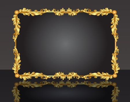 illustration decorative frame with pattern gold sheet Stock Vector - 10835909