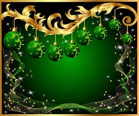 arbre     ? � feuillage persistant: illustration de boule de nouvelles ann�es d'or motif de s�jour